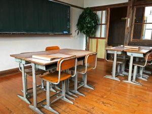 古い教室に並ぶ机